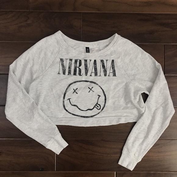 7f4efa31083 Divided H&M Tops | Divided Hm Gray Nirvana Cropped Sweatshirt Top ...